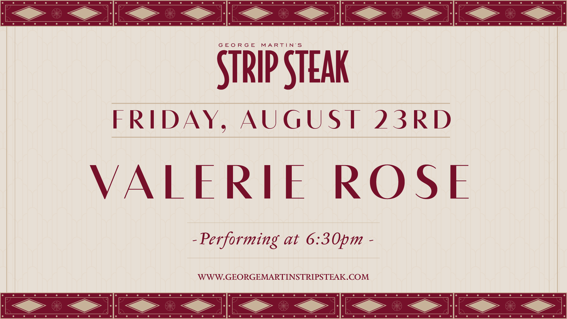 Flyer for live music with Valerie Rose on August 23rd at 6:30pm