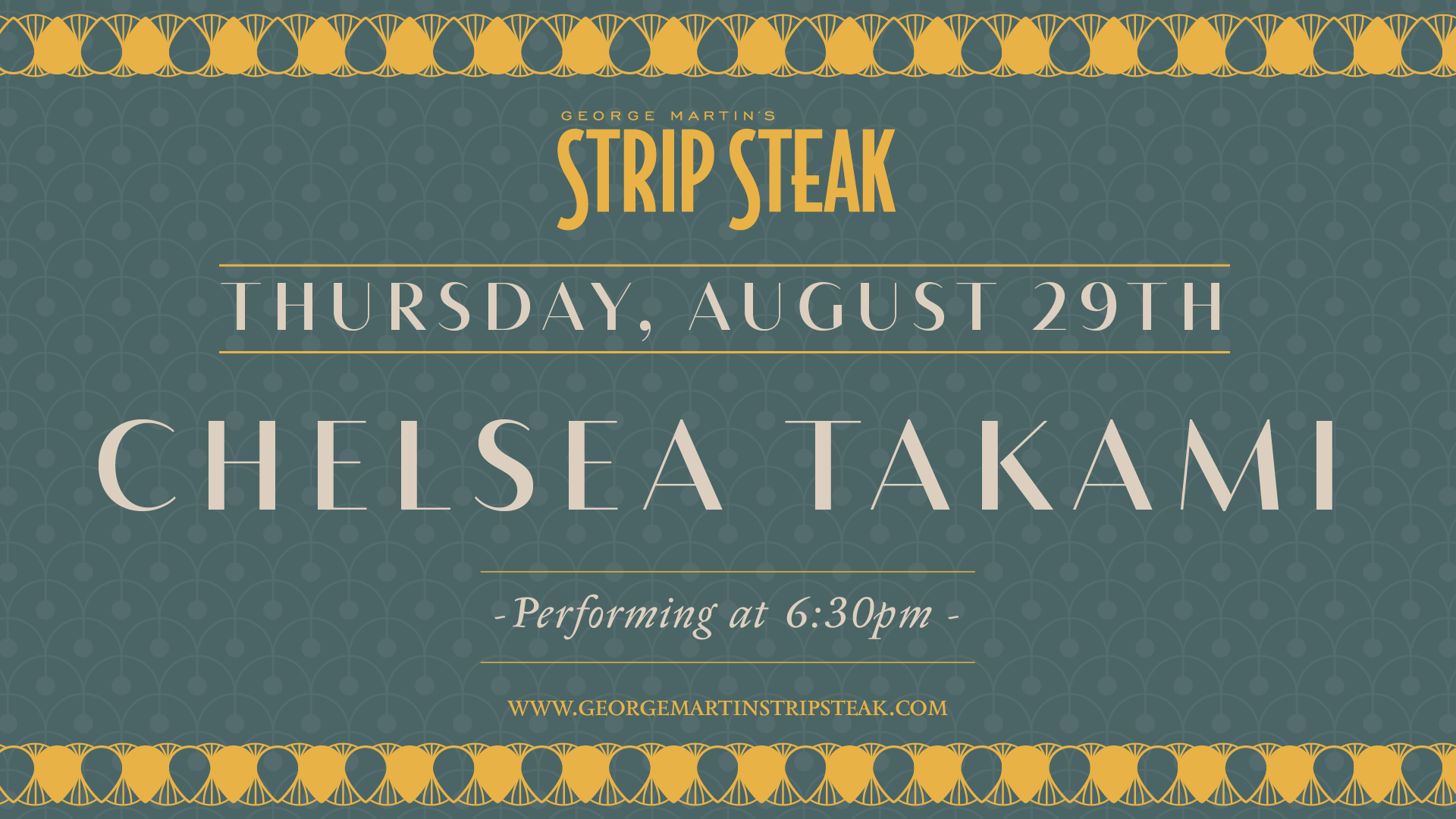 Flyer for live music with Chelsea Takami on August 29th at 6:30pm