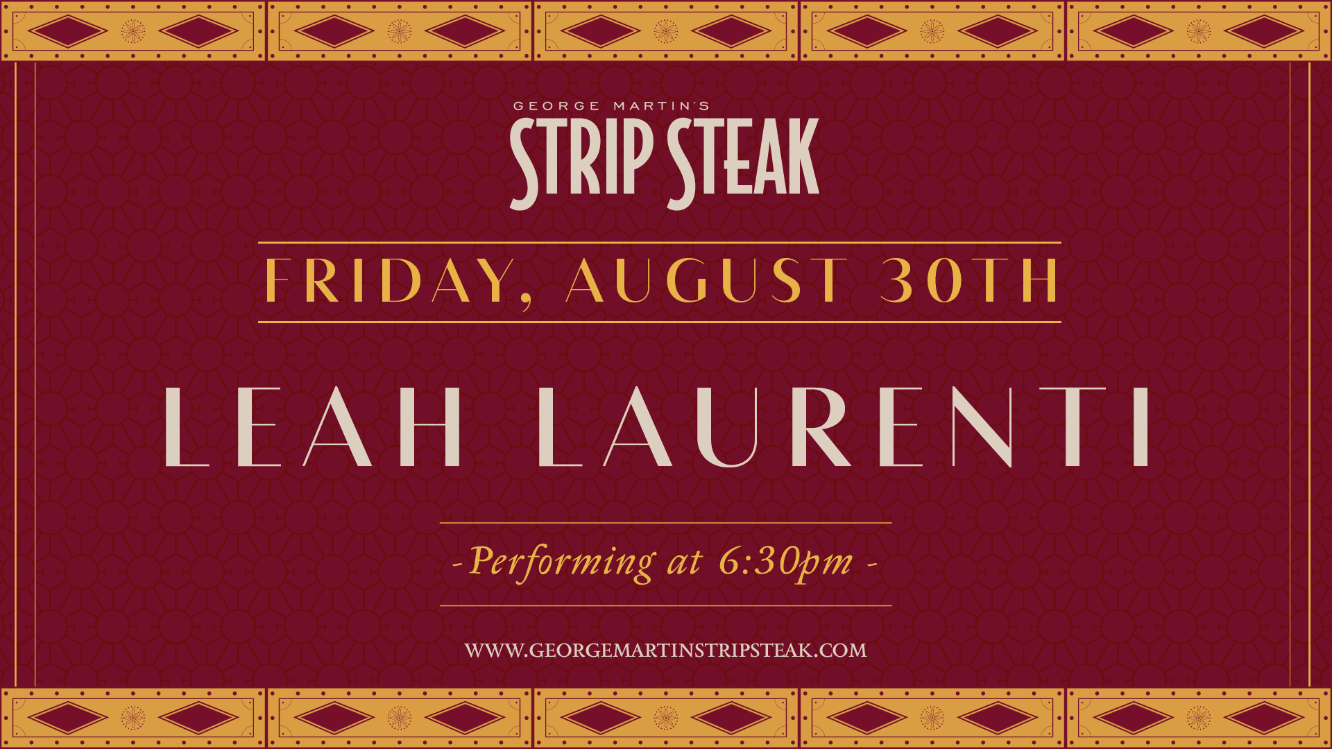 Flyer for live music with Leah Laurenti on August 30th at 6:30pm