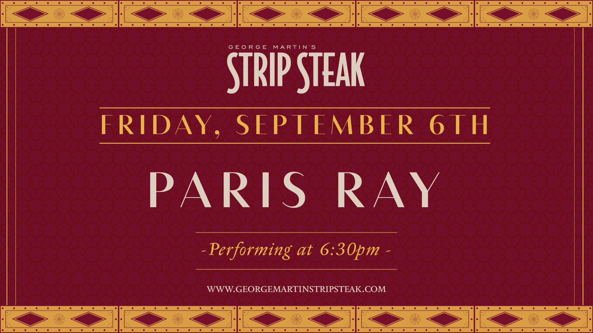 Flyer for live music with Paris Ray on Friday, September 6th at 6:30pm
