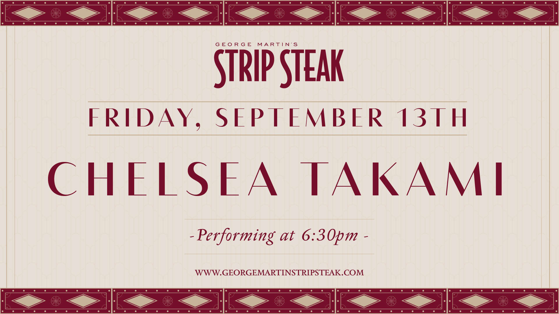 Flyer for Chelsea Takami on Friday, September 13th at 6:30pm
