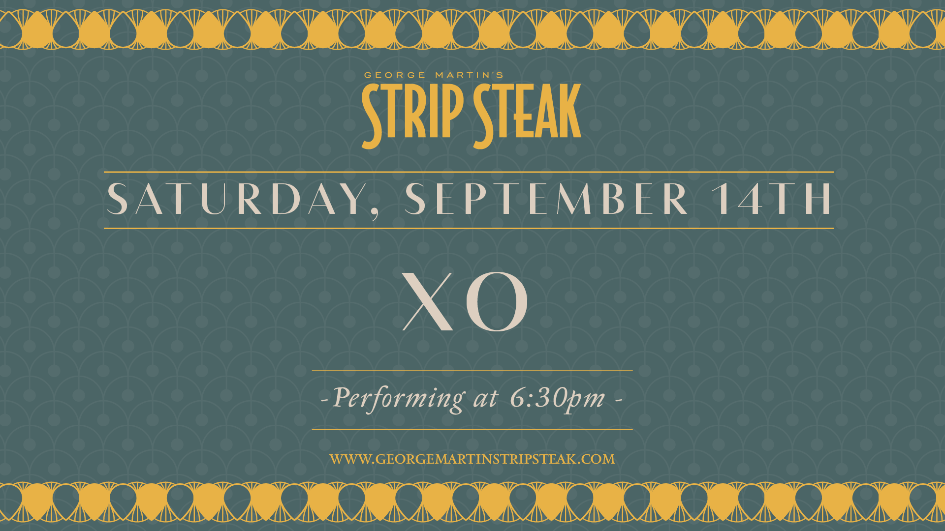 Flyer for XO on Saturday, September 14th at 6:30pm