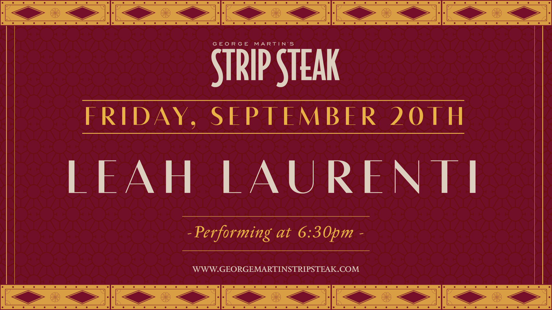 Flyer for Leah Laurenti on Friday, September 20th at 6:30pm