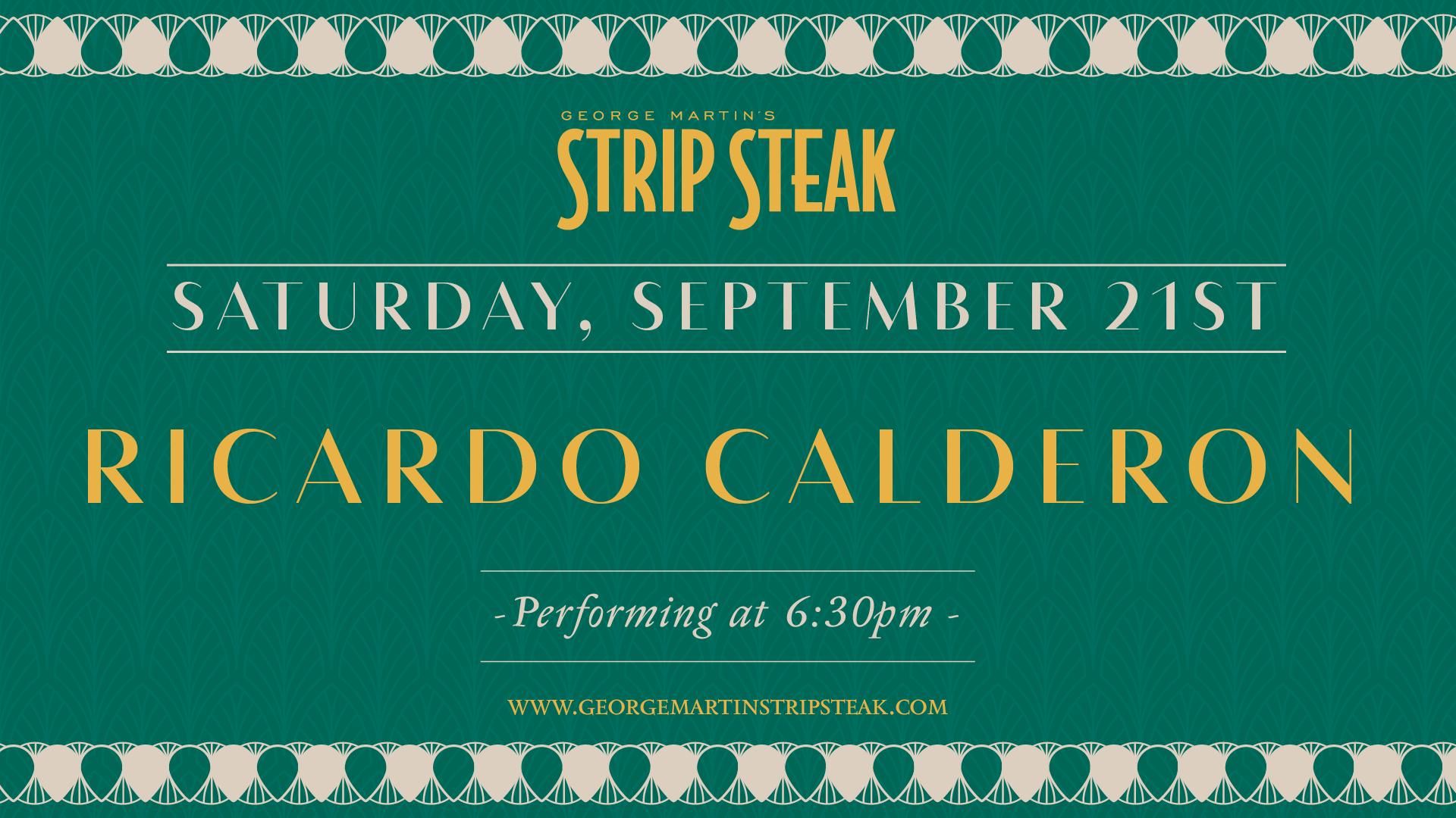 Flyer for Ricardo Calderon on Saturday, September 21st at 6:30pm
