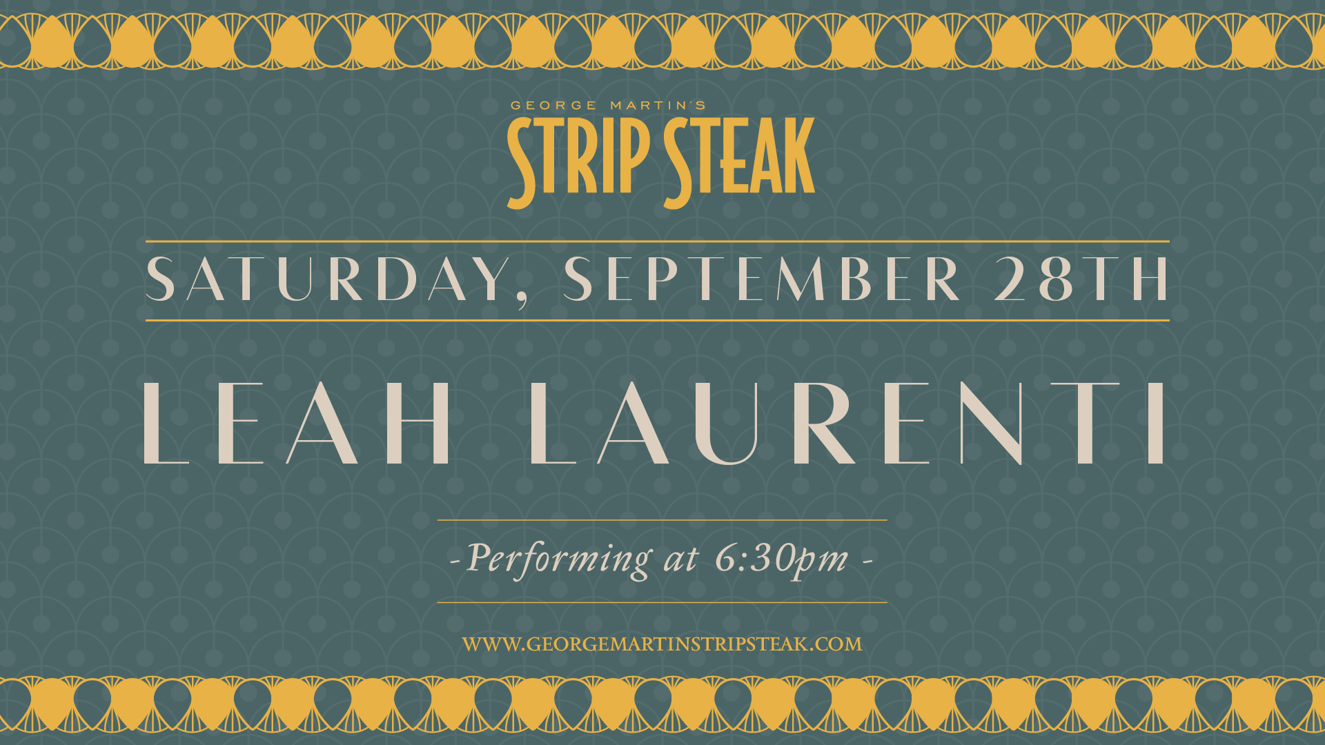 Flyer for Leah Laurenti on Saturday, September 28th at 6:30pm