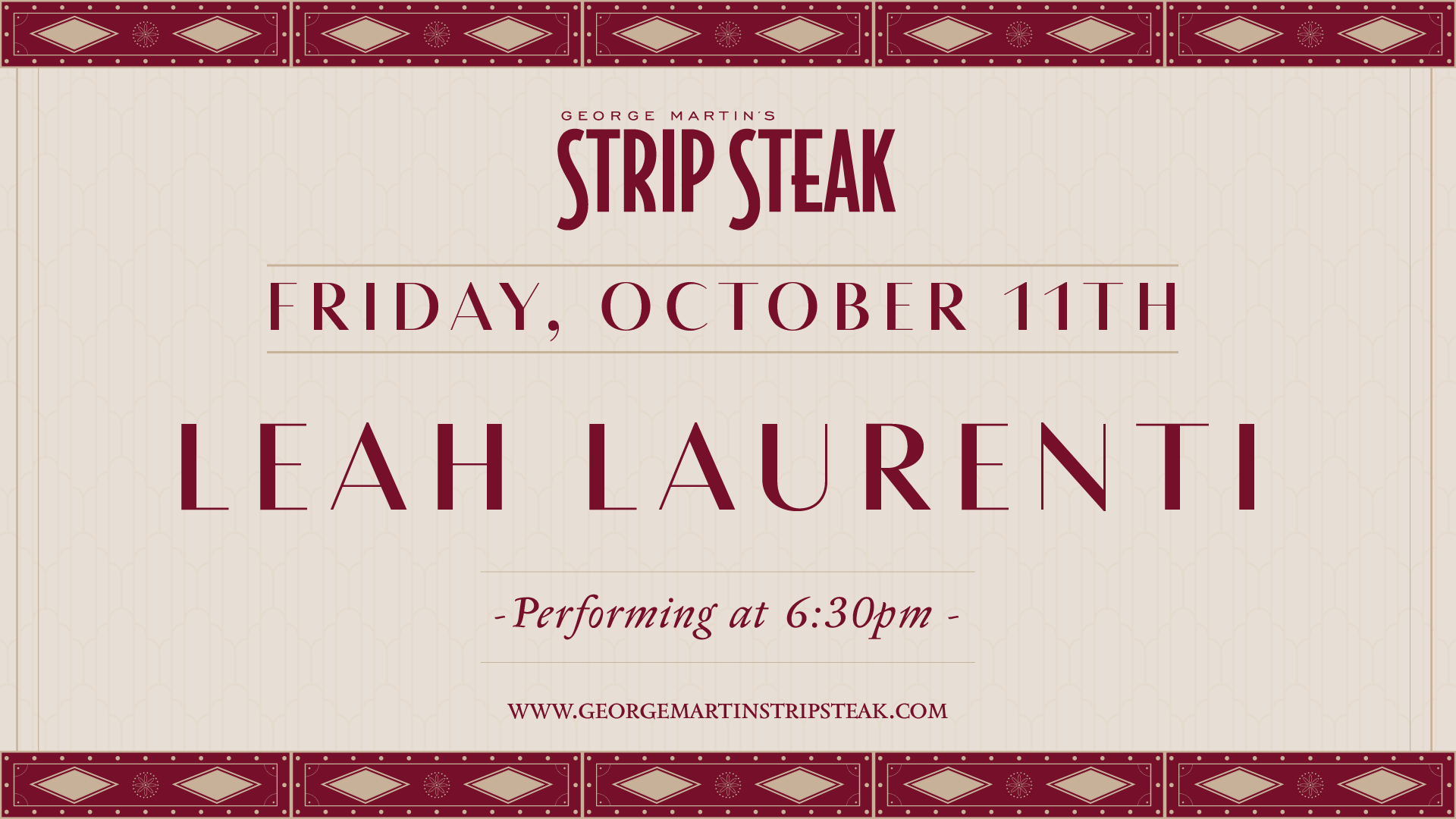 Flyer for Live Music with Leah Laurenti at Strip Steal on Friday, October 11th at 6:30pm