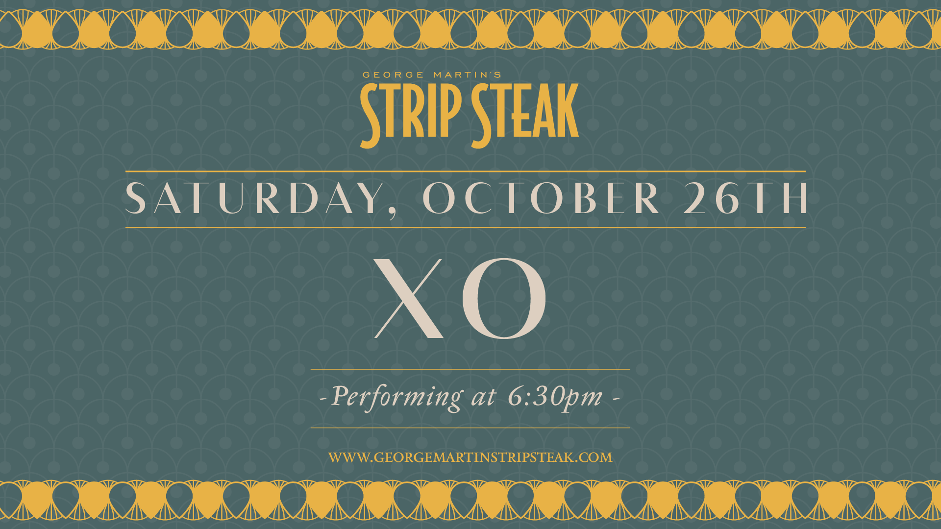 Flyer for Live Music with XO at Strip Steak on Saturday, October 26th at 6:30pm