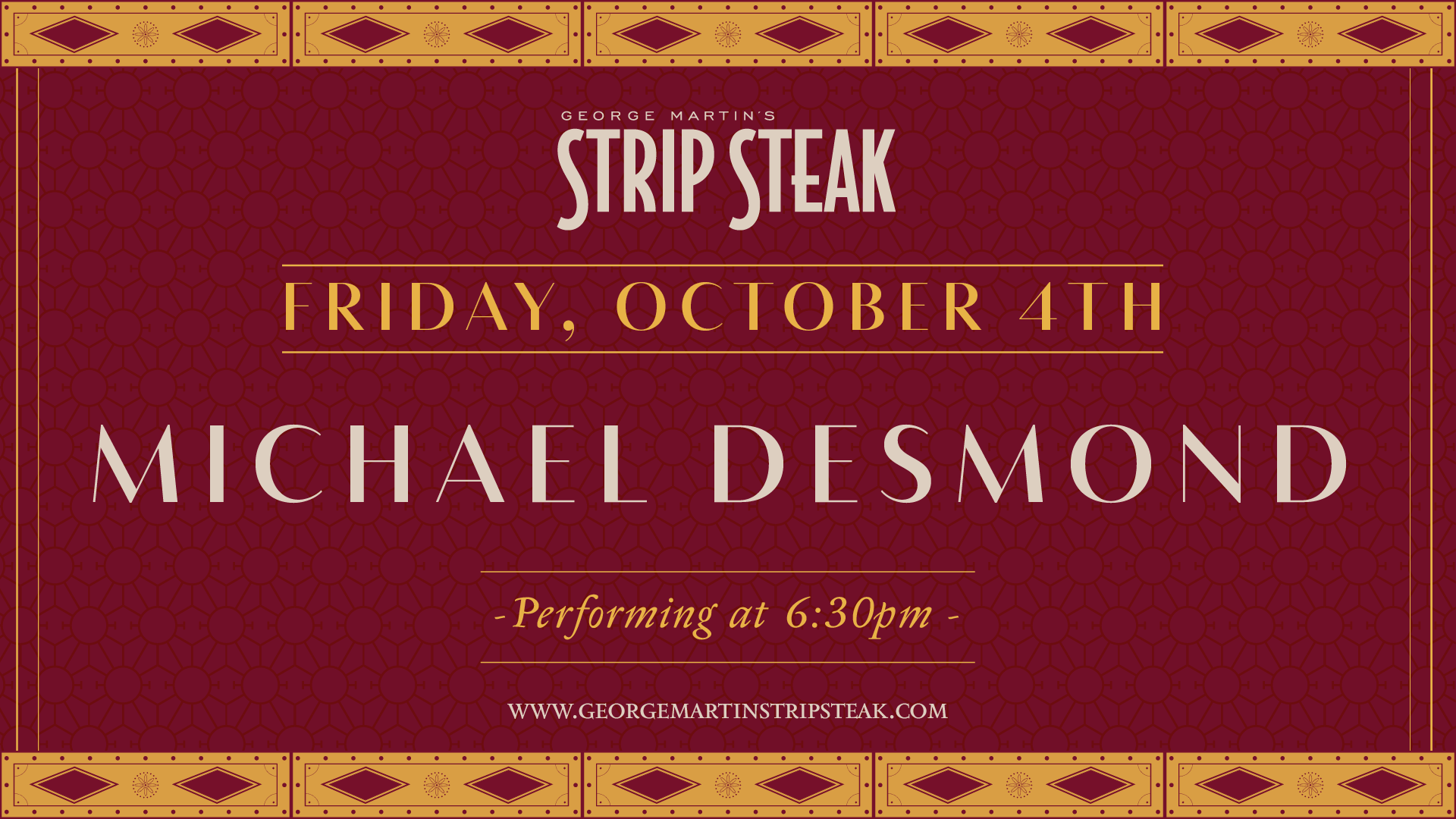 Flyer for live music with Michael Desmond on Friday, October 4th at 6:30pm.