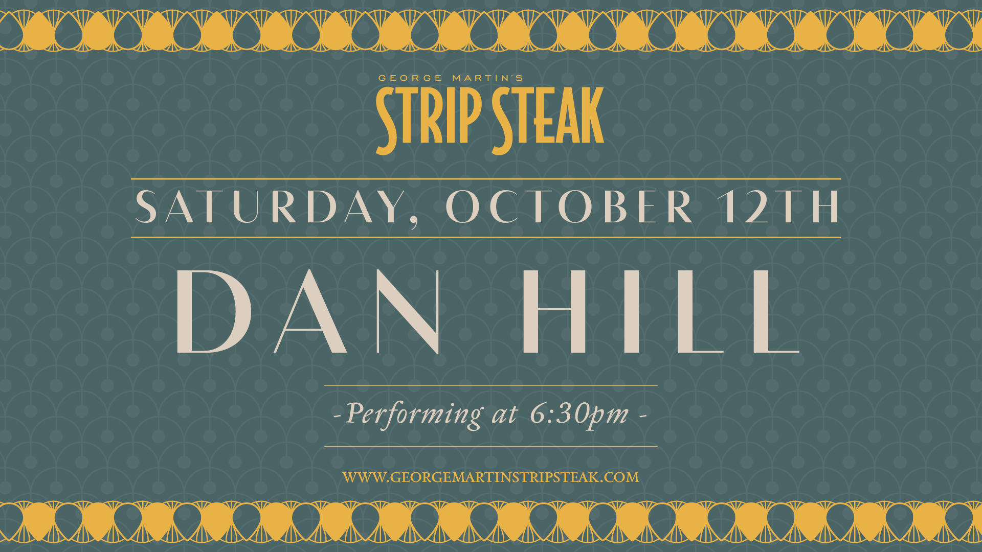 Flyer for live music with Dan Hill on Saturday, October 12th at 6:30pm.