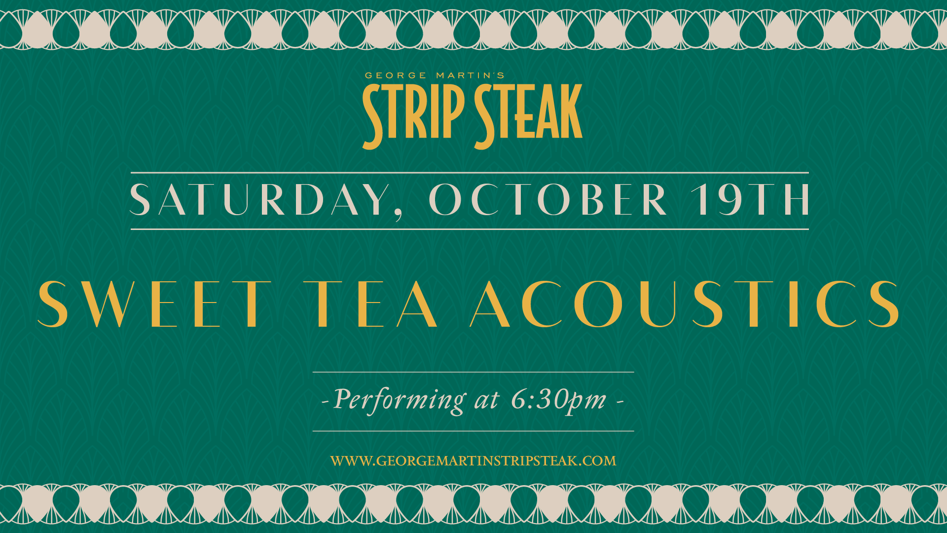 Flyer for live music with Sweet Tea Acoustics on Saturday, October 19th at 6:30pm.