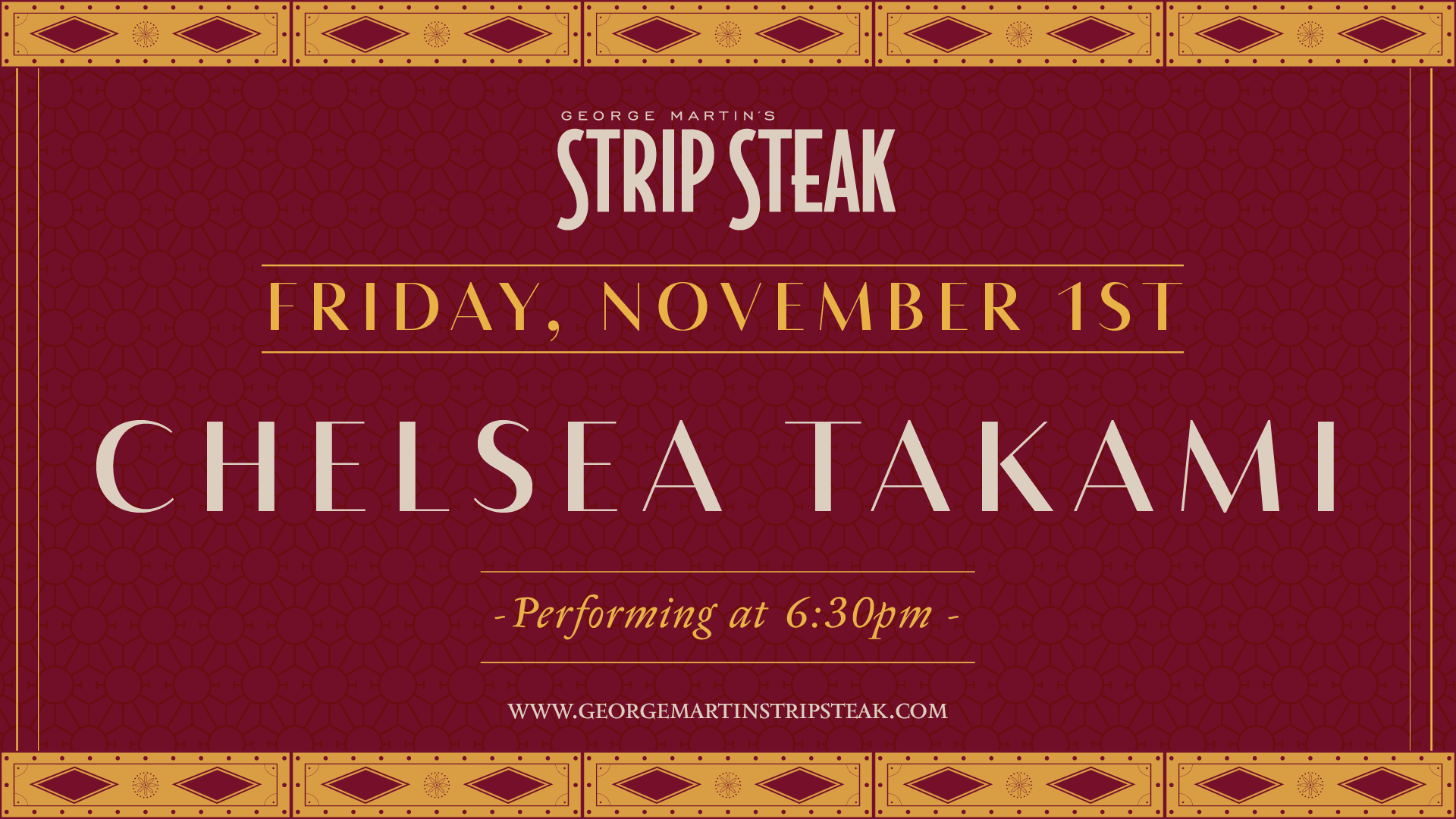 Flyer for Chelsea Takami on Friday, November 1st at 6:30pm.
