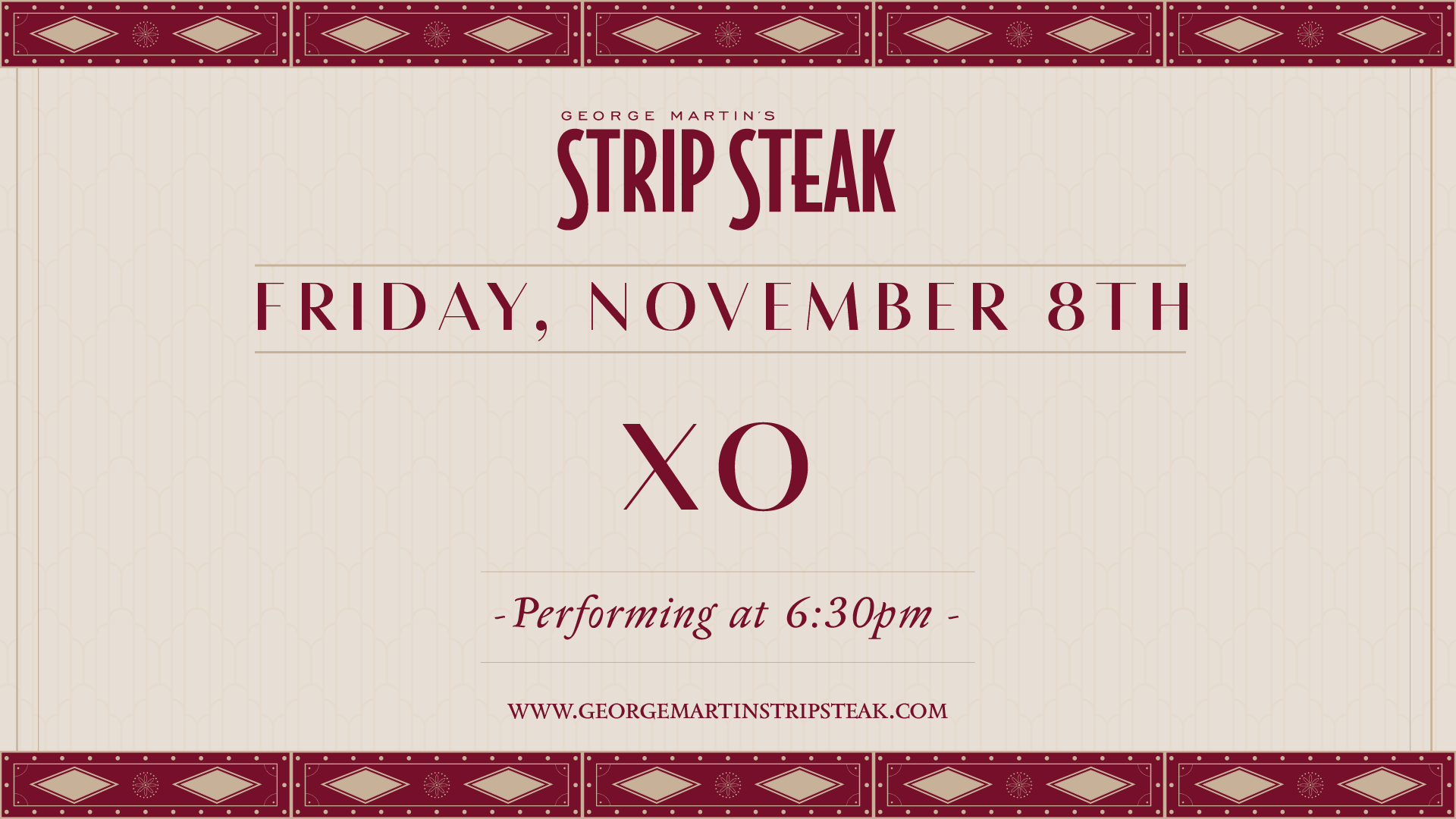 Flyer for Friday, November 8th with XO performing at 6:30pm.
