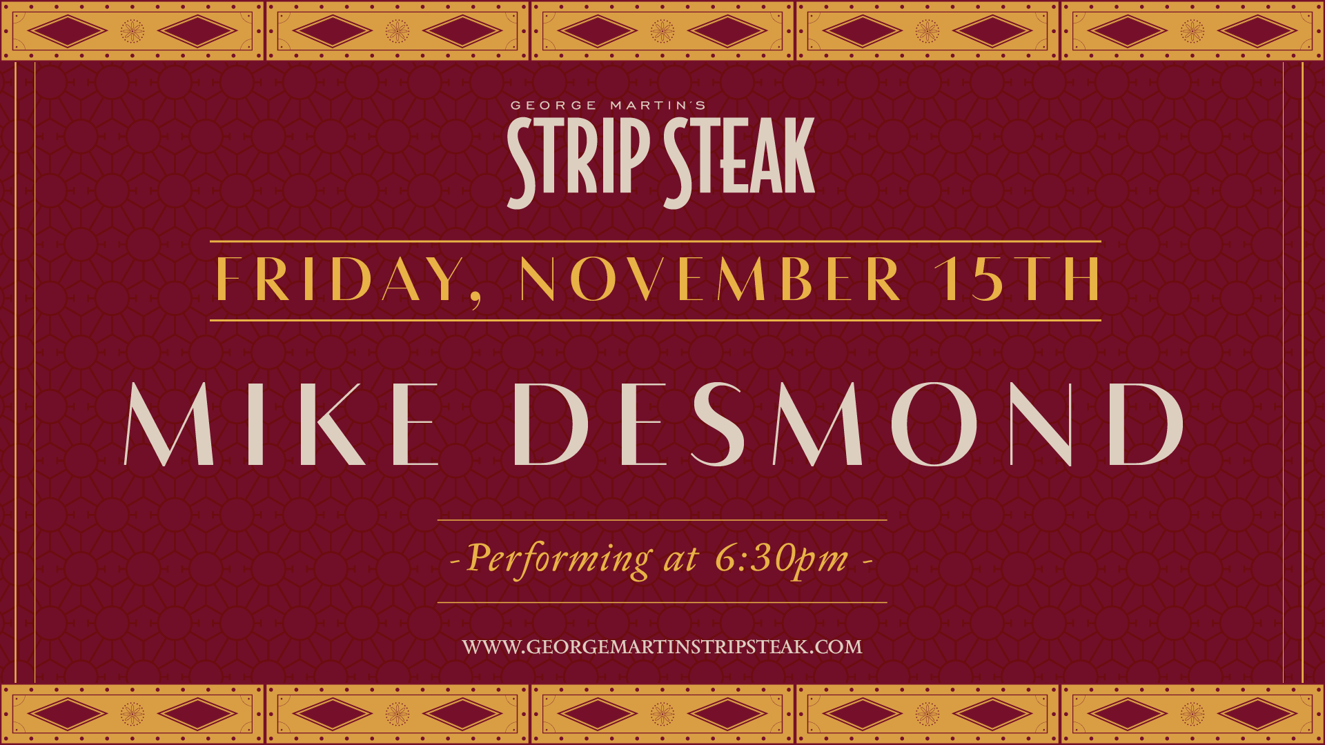 Flyer for Friday, November 15th with Mike Desmond performing at 6:30pm.