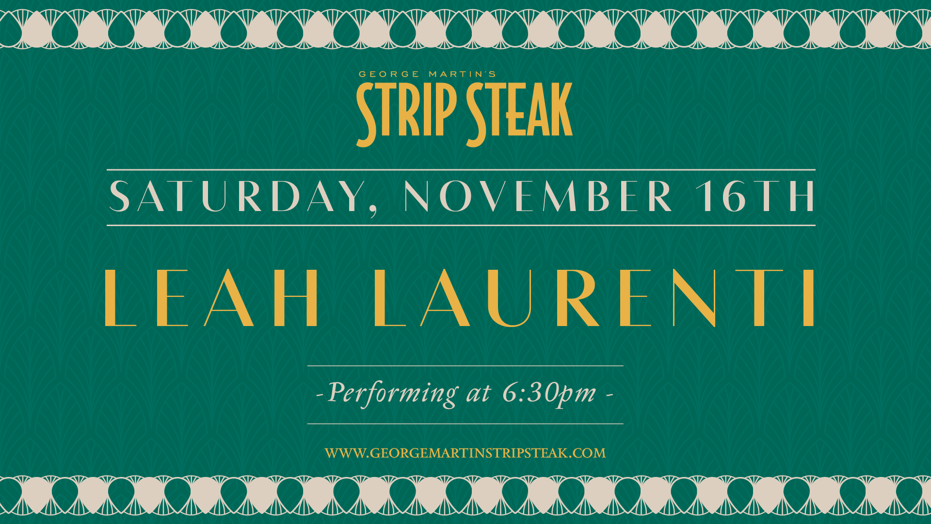 Flyer for Saturday, November 16th with Leah Laurenti performing at 6:30pm.
