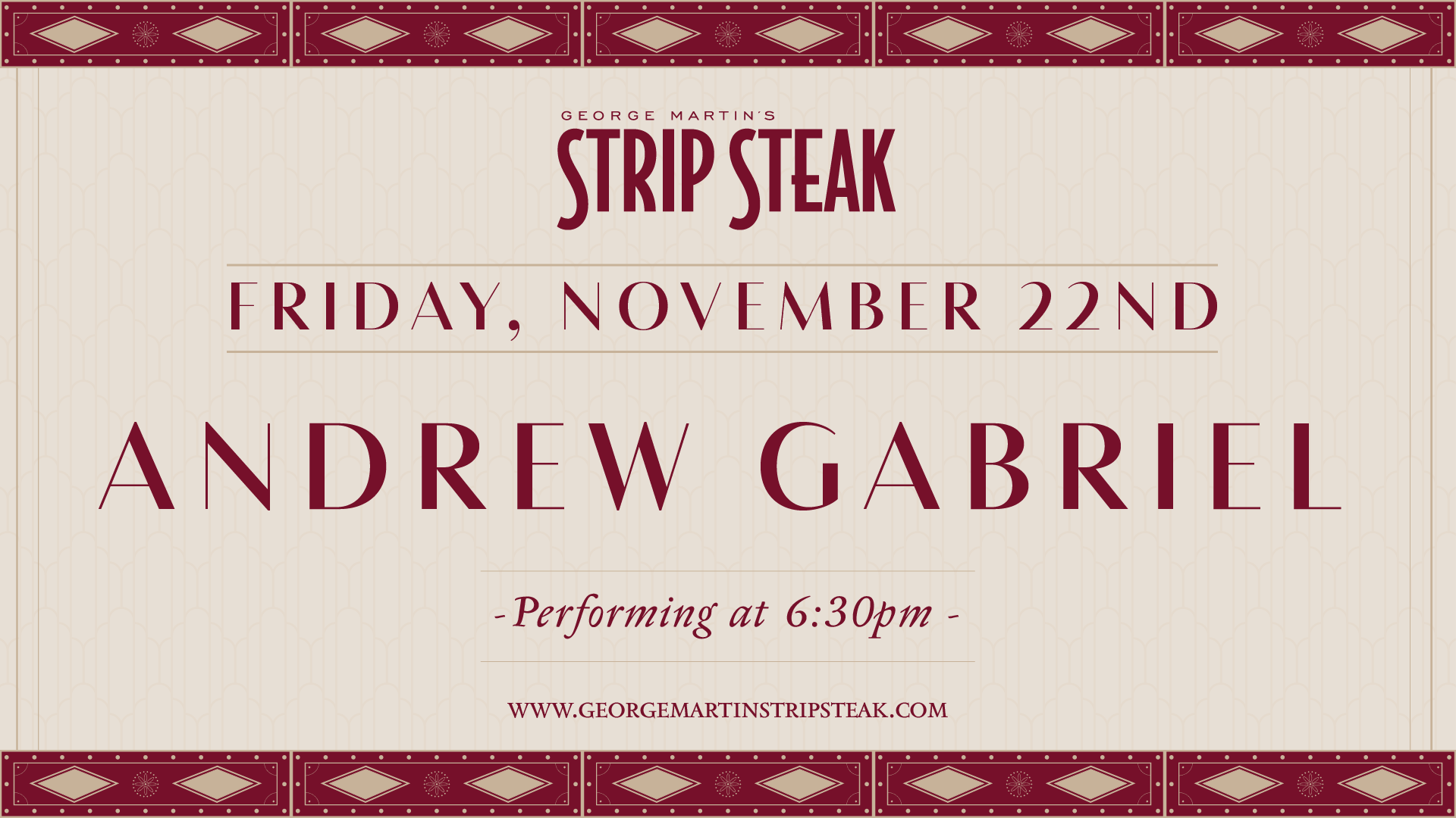 Flyer for Friday, November 22nd with Andrew Gabriel performing at 6:30pm.