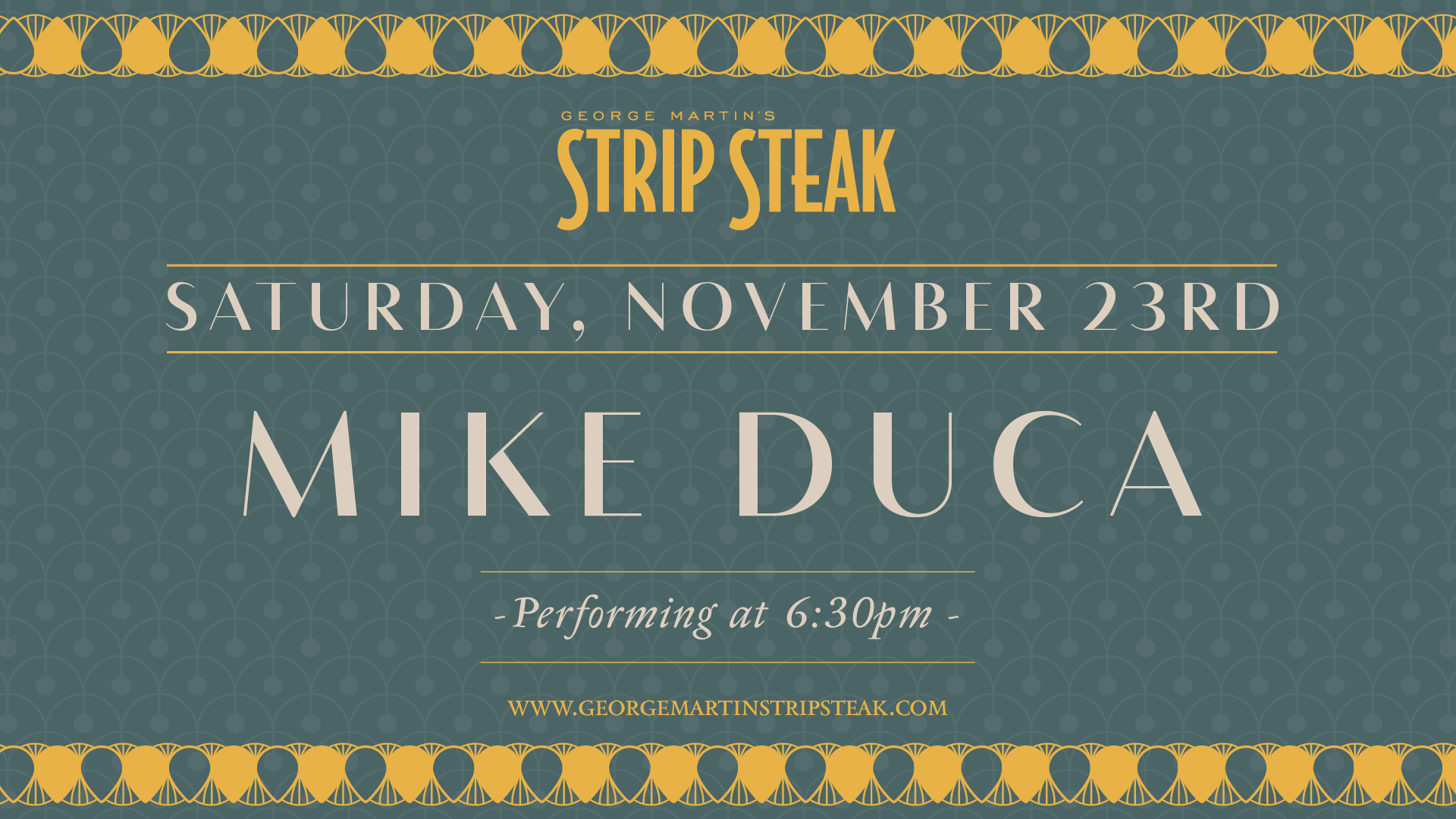 Flyer for Saturday, November 23rd with Mike Duca performing at 6:30pm.