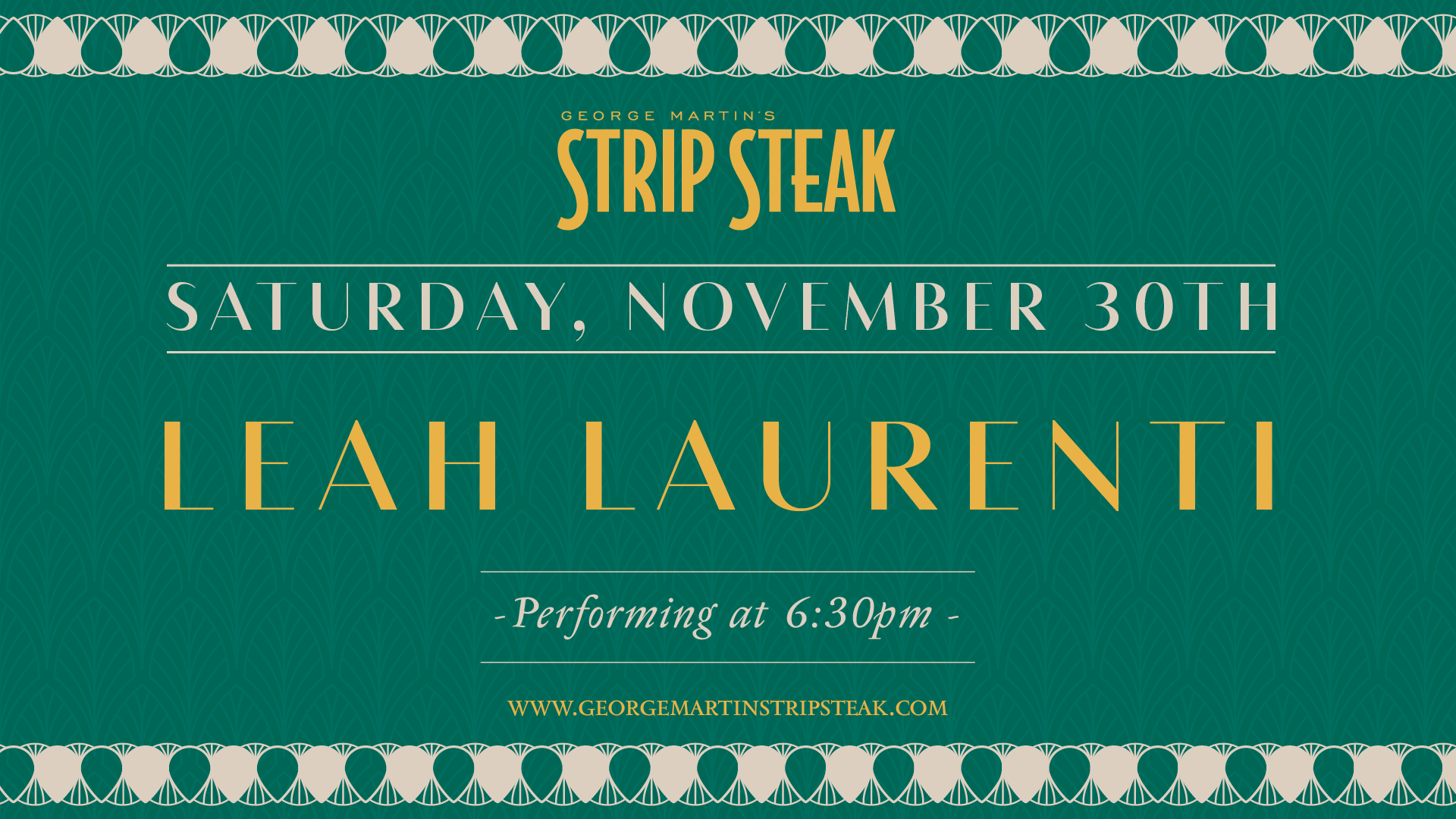 Flyer for Saturday, November 30th with Leah Laurenti performing at 6:30pm.