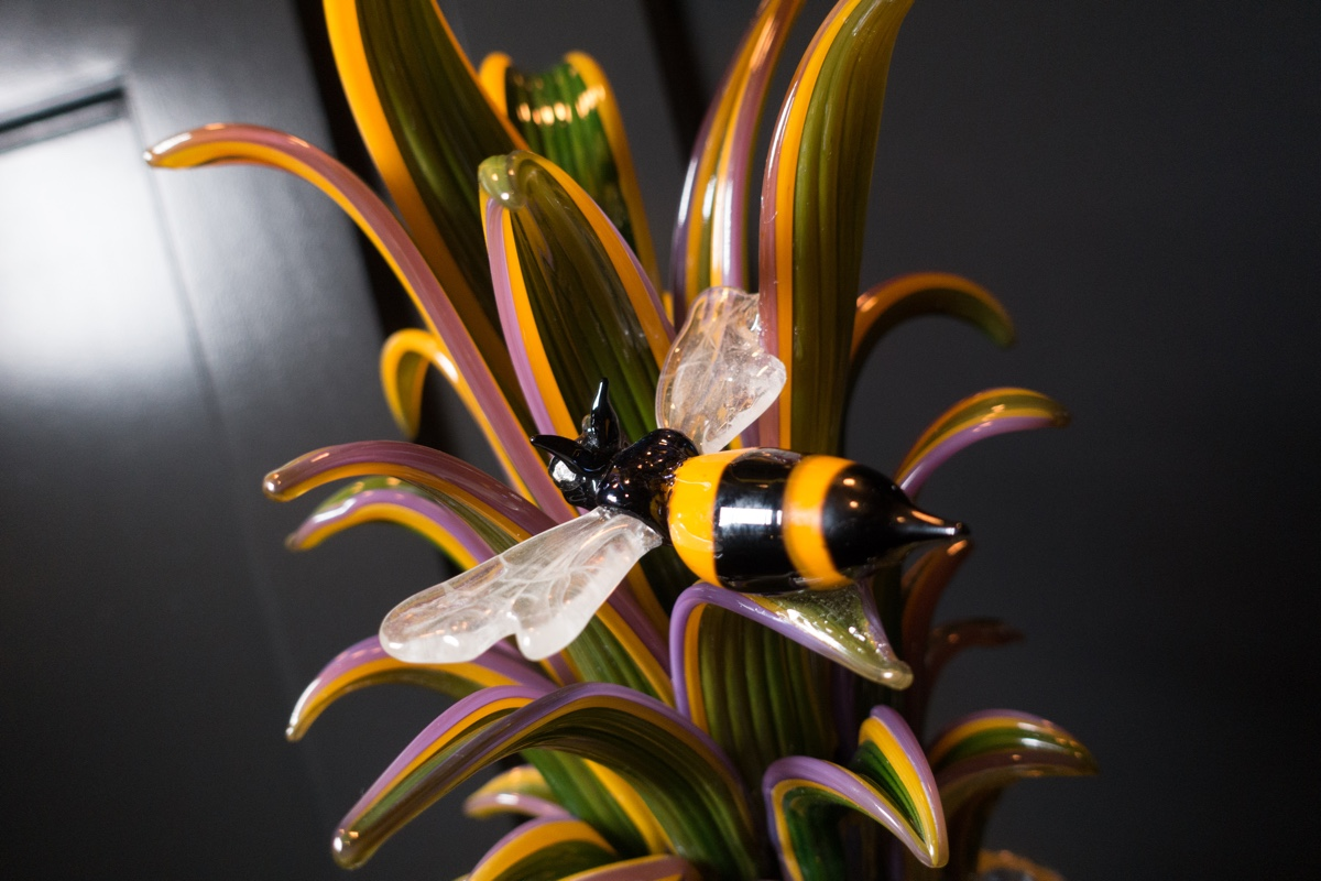 Glass bumblebees, birds, and butterflies bring Brian Rubino's glass art to life and add to the Staypineapple spirit at The Alise Chicago.