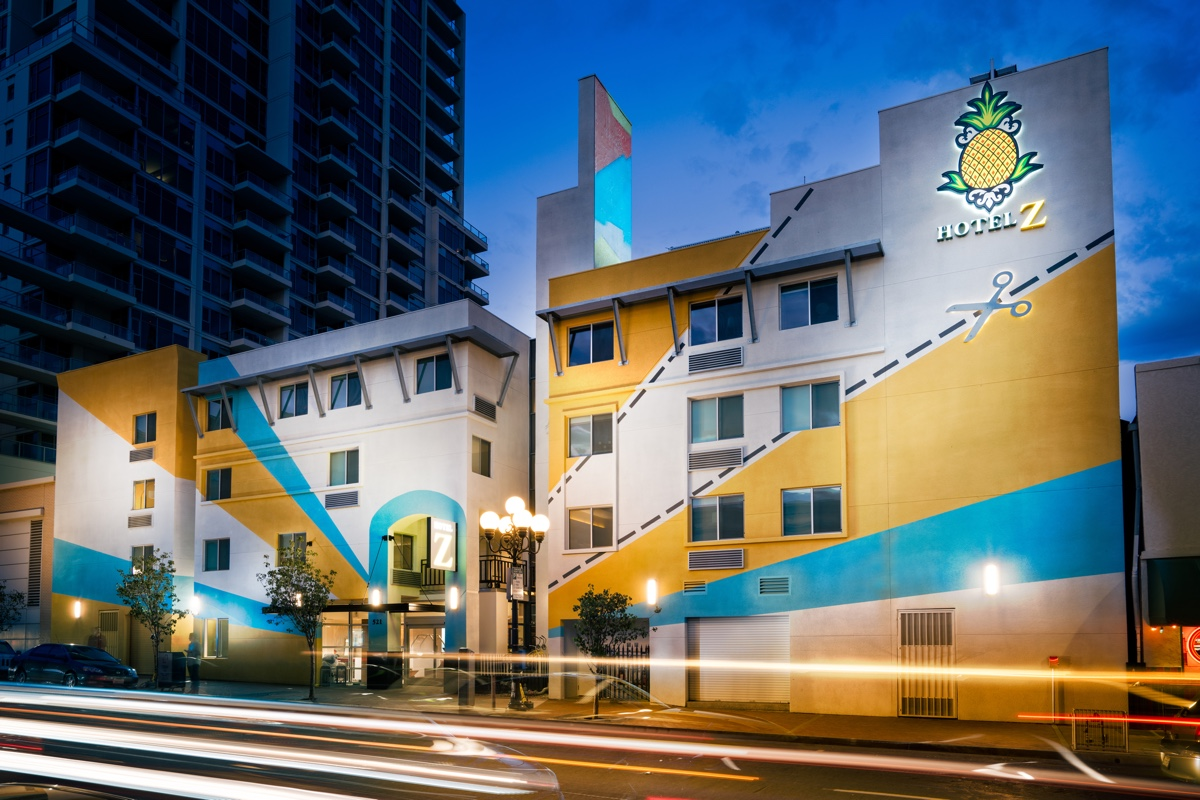 The bright bold paint on the exterior of Hotel Z.