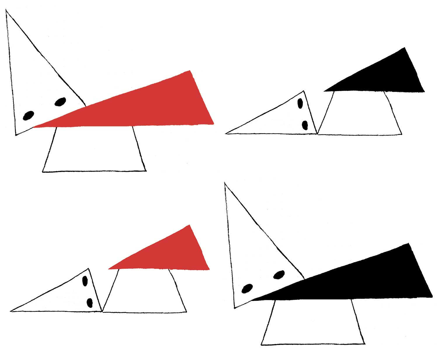 Playing off El Lissitzky's 1919 painting,  Strike the Whites with the Red Wedge,   Red Wedge/Black Wedge  by  Josh MacPhee  is licensed under a  Creative Commons Attribution-ShareAlike 4.0 International License .