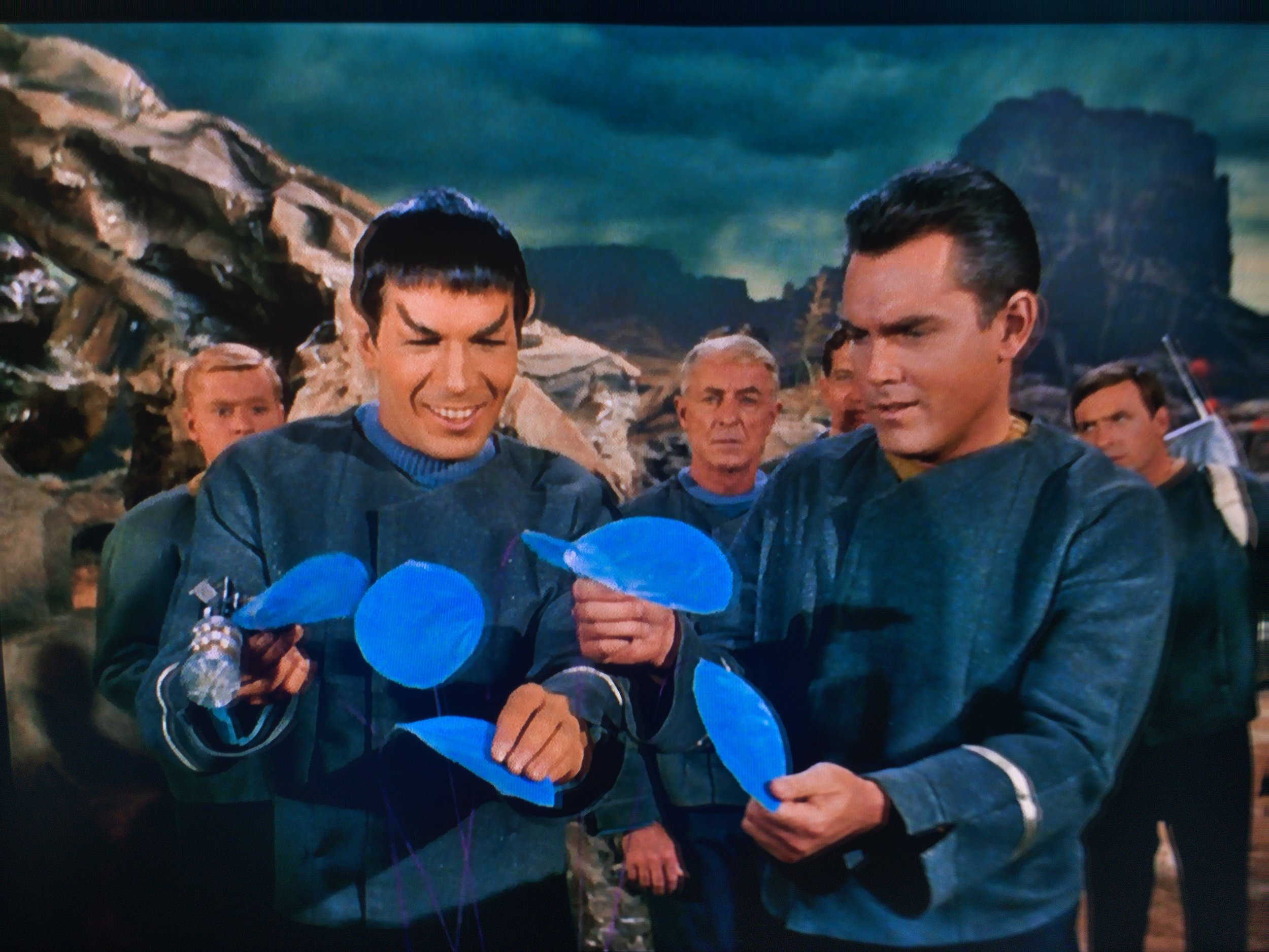 Before Vulcans weren't allowed to express their emotions, even the most banal fake blue foliage would bring such joy to Spock!