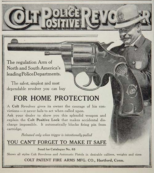 Vintage Colt advertisement demonstrating the imbrication of policing and defense.