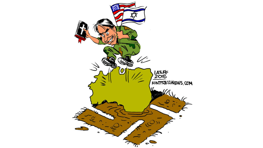 Cartoon by Latuff, reproduced by  MintPress News , 2018.