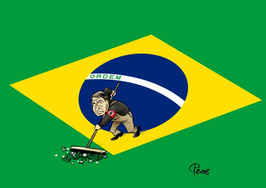 Bolsonaro, Order without Progress; cartoon by  Paolo Calleri , 2018.