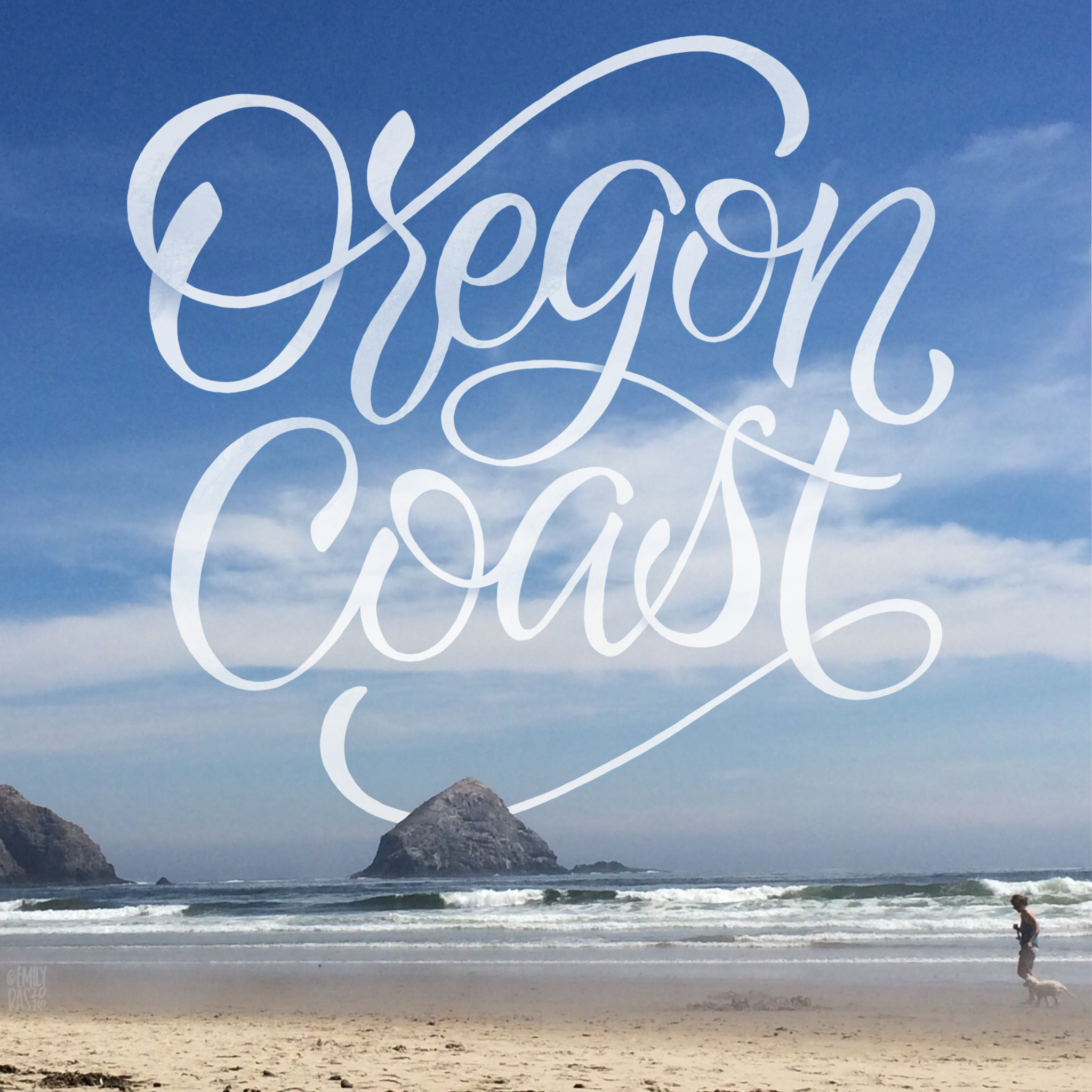 Hand lettering over photography of the Oregon Coast on a sunny day