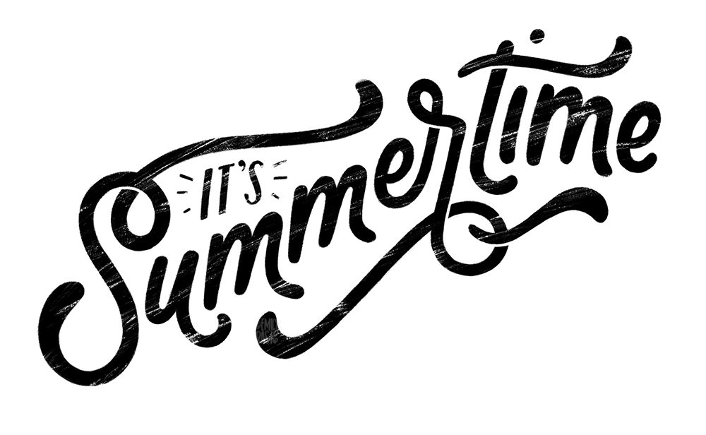 It's Summertime black and white digital lettering