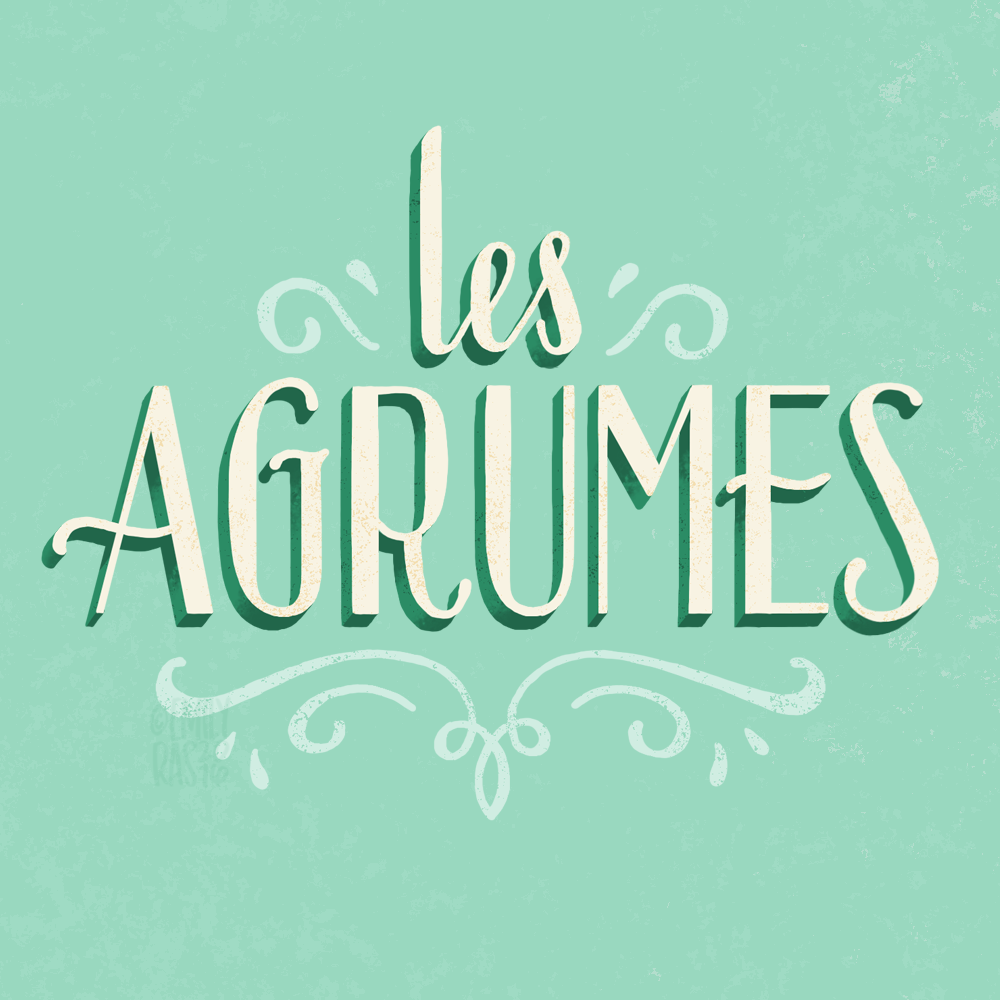 Les Agrumes (the citrus) collection title hand lettering
