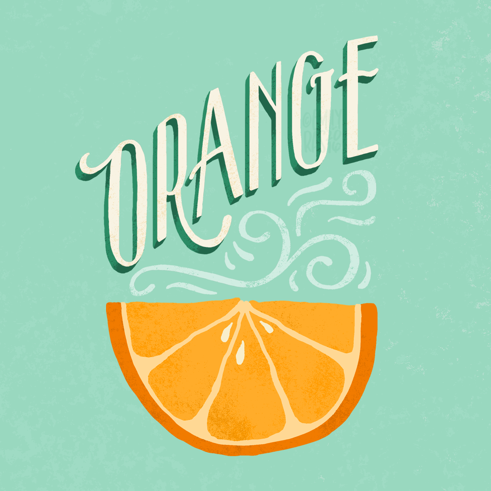 Orange illustration with hand lettering