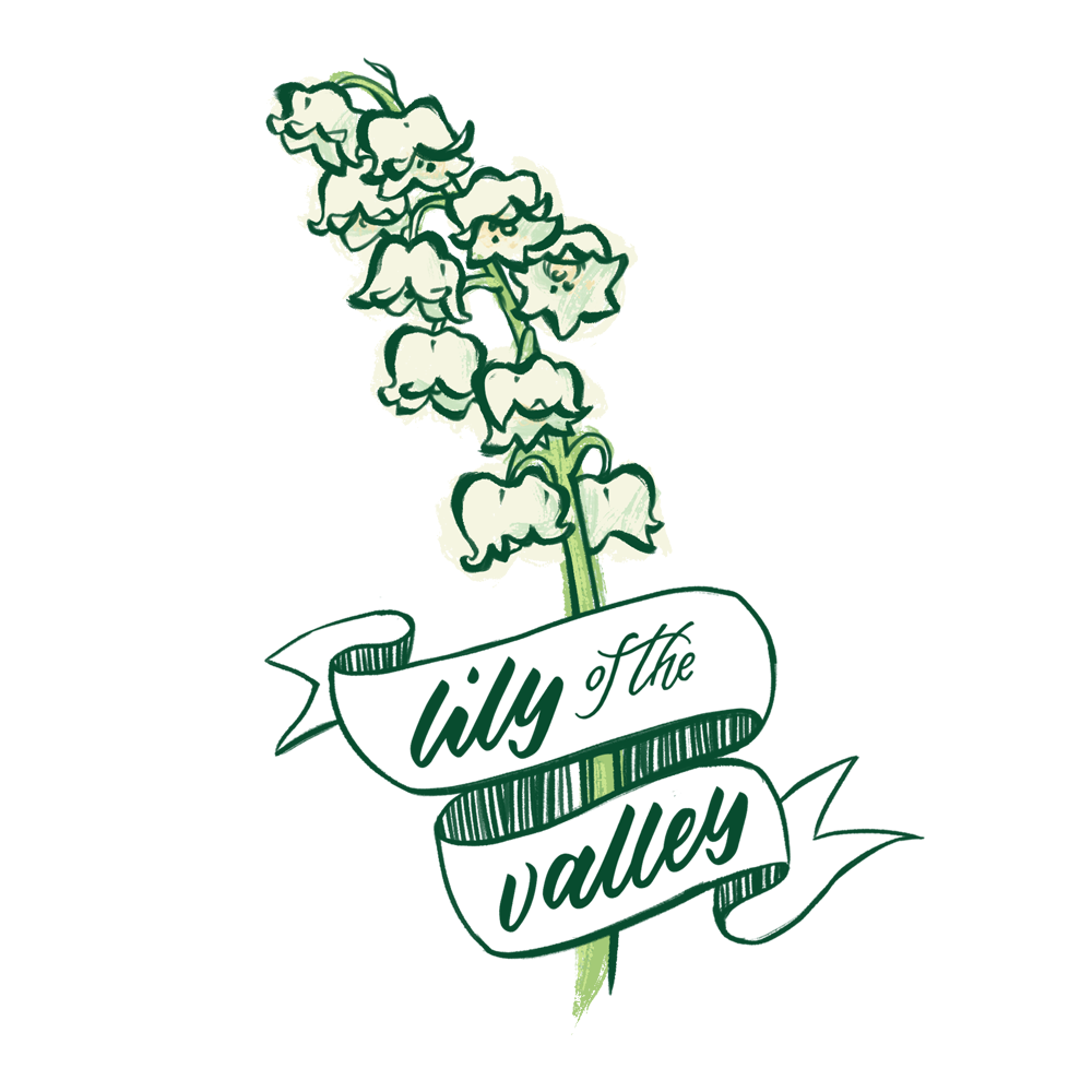 Lily of the valley flower illustration with hand lettering