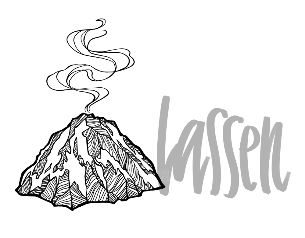 Lassen volcano illustration with hand lettering