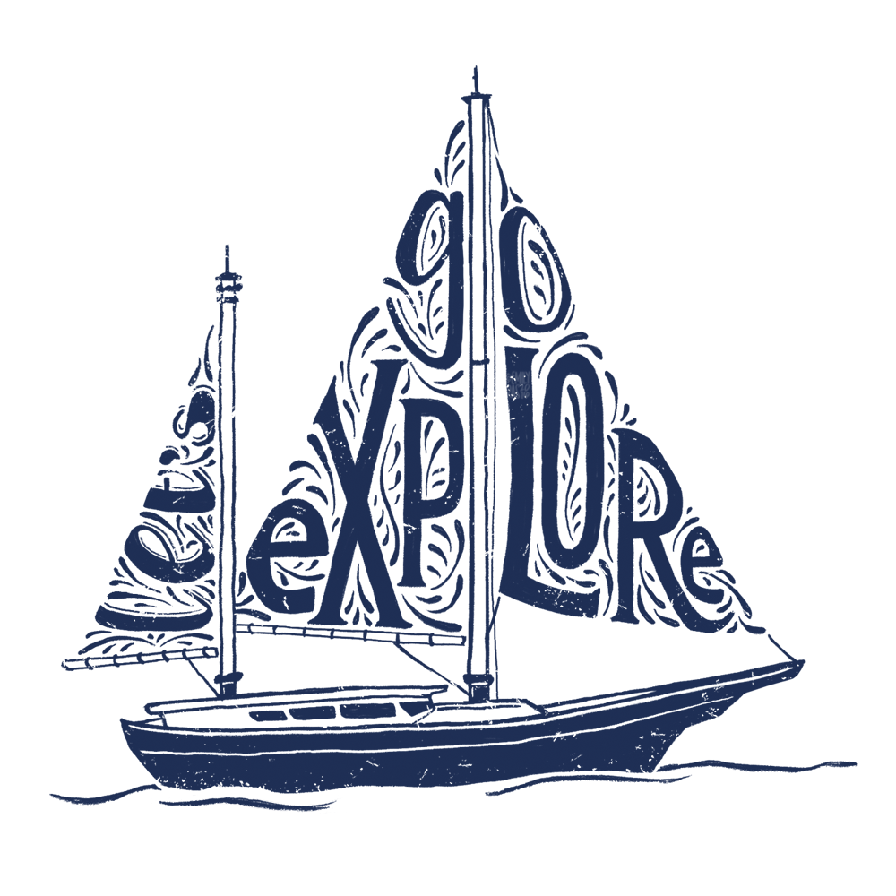 Boat illustration with integrated custom lettering