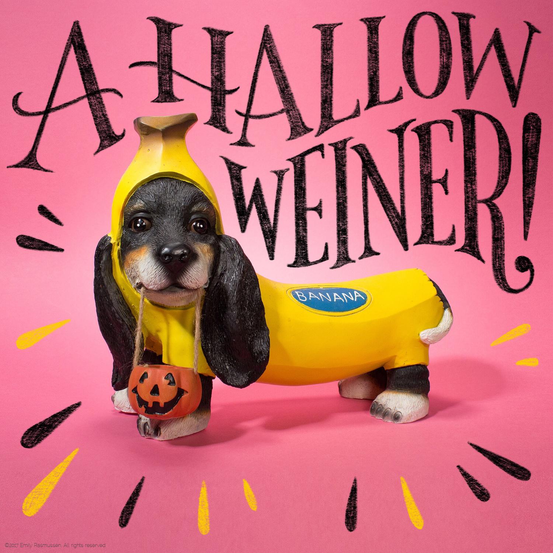 Hand-lettered Halloween dachshund joke punchline