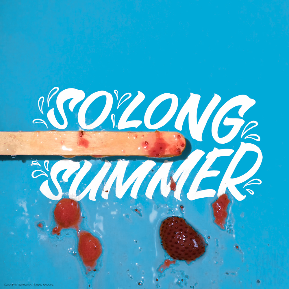 Melted strawberry ice pop and hand lettering