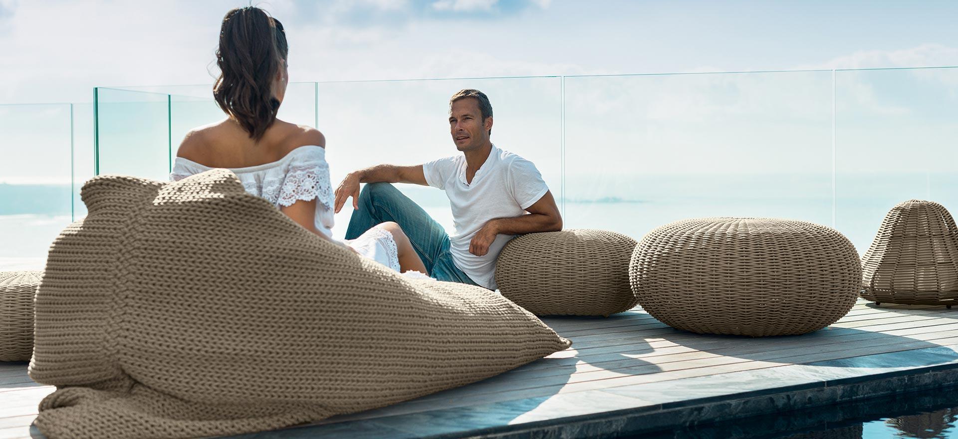 outdoor armchairs - ottomans