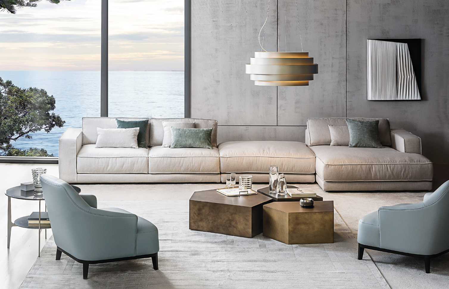Living room - Sofas - Armchairs - coffee tables - Pendant Lamps