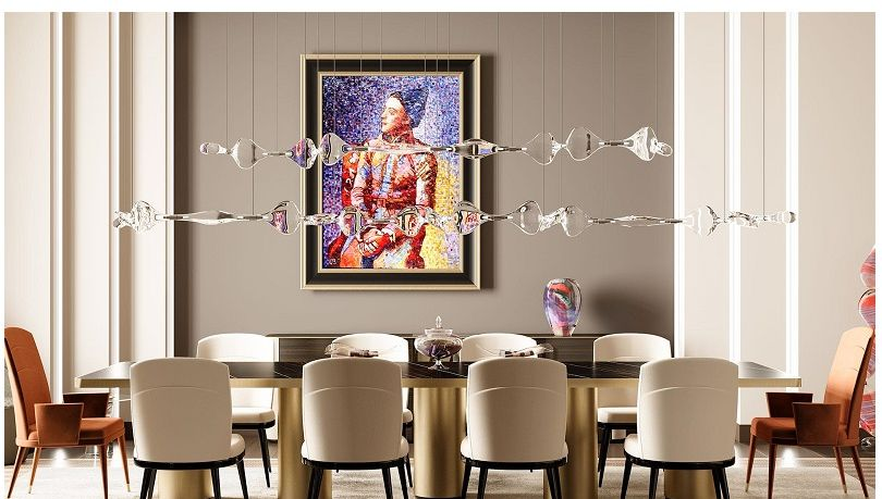 Dining room tables - dining armchairs - pendant lamps