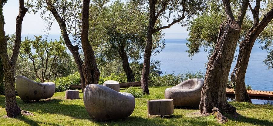 Outdoor wood armchairs
