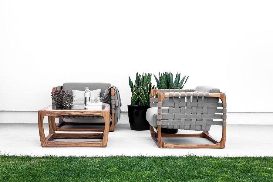 Outdoor wood armchairs - outdoor wood coffee table