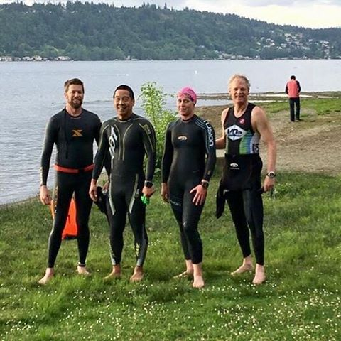 First open water swim of the season for some brave team members this morning ✅#triathlon #swim