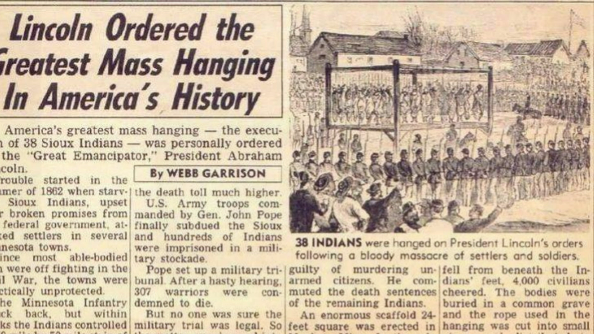 A newspaper reporting on the largest mass execution in the US to date.