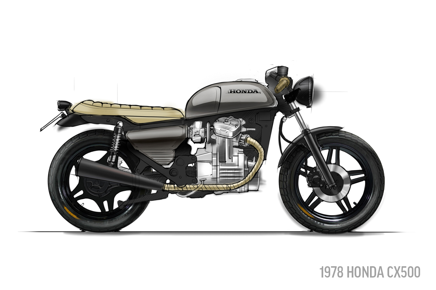 1978 Honda CX500 Sketch