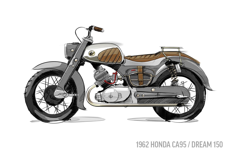 1962 Honda CA95 Sketch