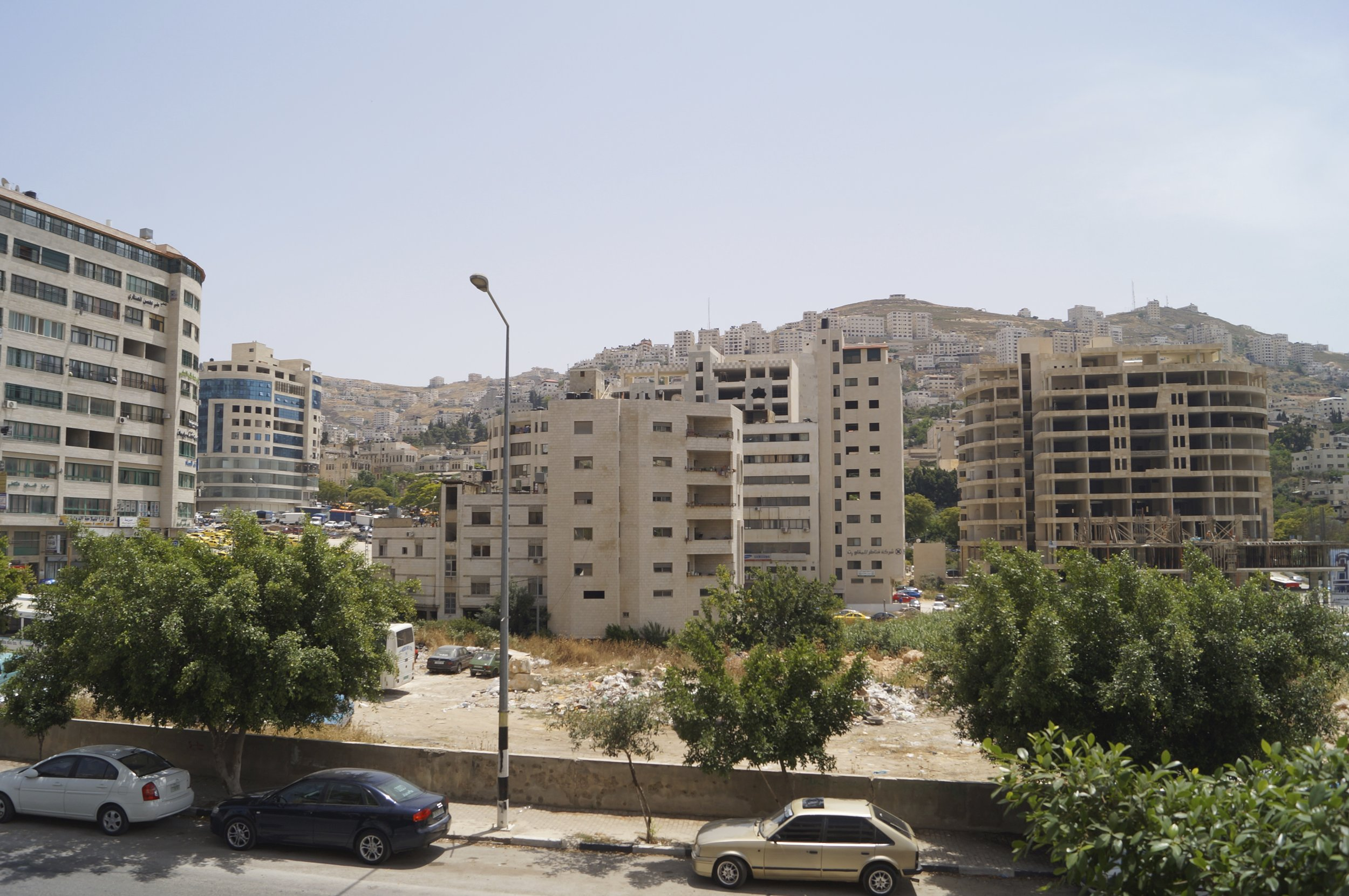 The view from Shahrat's baclony, overlooking the Main Street of Nablus.