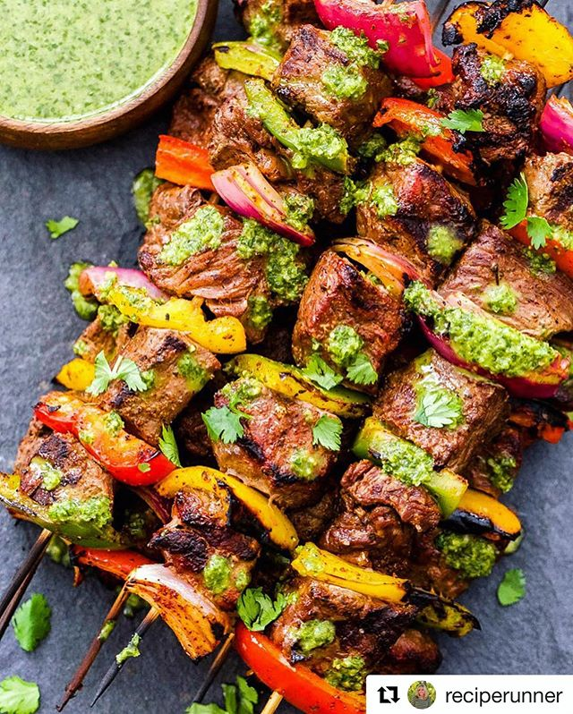 Looking for easy grilling ideas for Memorial Day? Check out these steak fajita skewers with cilantro chimichurri by @reciperunner .😋 . . . #Repost @reciperunner with @get_repost ・・・ Let's pretend it's summer and we're standing outside at the grill with our favorite drink 🍷 in one hand and tongs in the other getting ready to give these steak fajita skewers a turn. •  Sure sounds a lot better than reality which is 19 degrees and getting ready to snow. 😑 •  Clickable link to the recipe in my profile: https://reciperunner.com/steak-fajita-skewers-with-cilantro-chimichurri/ #reciperunner •  #fajitas #spoonfeed #buzzfeast #feedfeed #f52grams #foodwinewomen #huffposttaste #healthydinner #thekitchn #beautifulcuisines #foodisfuel #todayfood #mindbodygram #foodandwine #denverblogger #balanceddiet #healthyfoodie #thenewhealthy #saveurmag #gloobyfood #tastespotting #eatrealfood #paleofood #foodblogfeed #glutenfreefood #steak #eatwellbewell