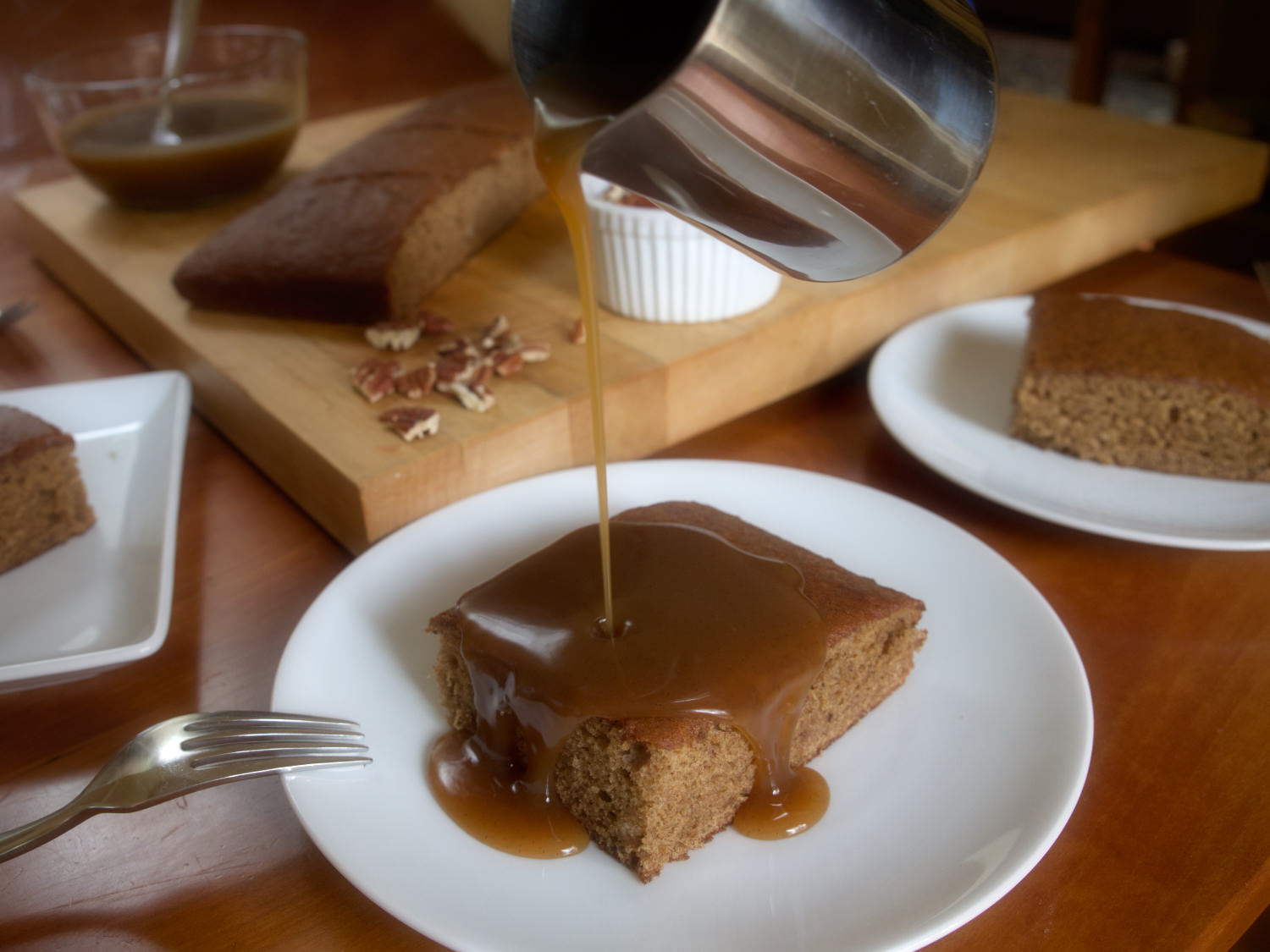 Step two: Pour on warm toffee sauce.