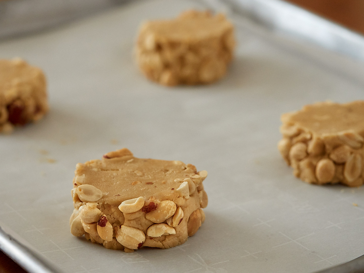The dough for these cookies is sliced an inch thick to make a big, fantastic cookie!